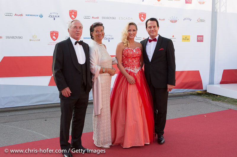 VIENNA, AUSTRIA - JUNE 26: Karl Schranz with his wife and Gregor Glanz with Daniela Hentze attend the gala event 450 years Spanische Hofreitschule on June 26, 2015 in Vienna, Austria.  (Photo by Chris Hofer/Getty Images)