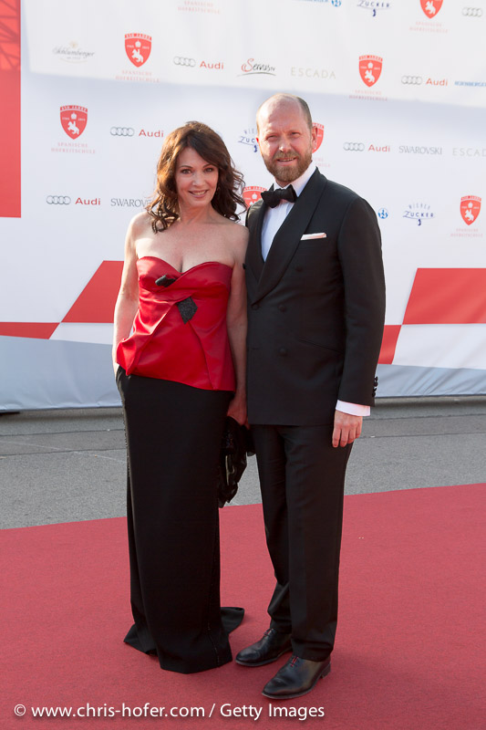 VIENNA, AUSTRIA - JUNE 26: Iris Berben with Daniel Wingate attend the gala event 450 years Spanische Hofreitschule on June 26, 2015 in Vienna, Austria.  (Photo by Chris Hofer/Getty Images)