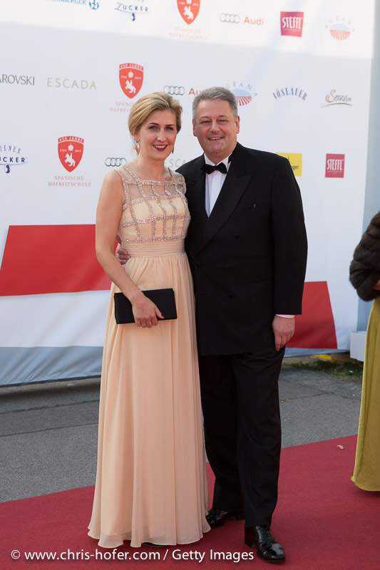 VIENNA, AUSTRIA - JUNE 26: Federal Minister of Agriculture Andrae Rupprechter with his wife Christine attend the gala event 450 years Spanische Hofreitschule on June 26, 2015 in Vienna, Austria.  (Photo by Chris Hofer/Getty Images)