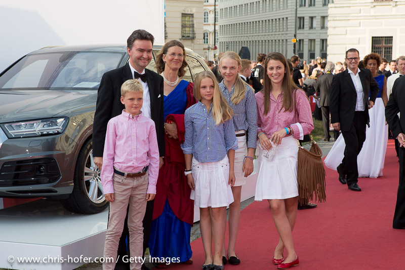 VIENNA, AUSTRIA - JUNE 26: Georg Habsburg-Lothringen with his wife Eilika and their childrend attend the gala event 450 years Spanische Hofreitschule on June 26, 2015 in Vienna, Austria.  (Photo by Chris Hofer/Getty Images)