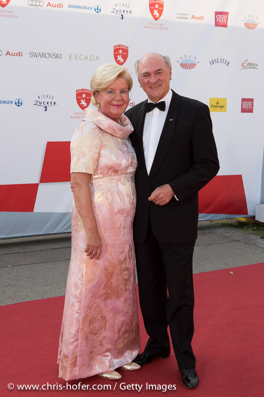 VIENNA, AUSTRIA - JUNE 26: Governor of Lower Austria Erwin Proell with his wife Elisabeth attend the gala event 450 years Spanische Hofreitschule on June 26, 2015 in Vienna, Austria.  (Photo by Chris Hofer/Getty Images)