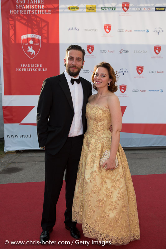 VIENNA, AUSTRIA - JUNE 26: Lena Hoschek with his entourage attend the gala event 450 years Spanische Hofreitschule on June 26, 2015 in Vienna, Austria.  (Photo by Chris Hofer/Getty Images)