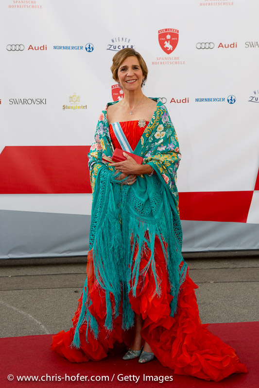 VIENNA, AUSTRIA - JUNE 26: Princess Elena of Spain attends the gala event 450 years Spanische Hofreitschule on June 26, 2015 in Vienna, Austria.  (Photo by Chris Hofer/Getty Images)