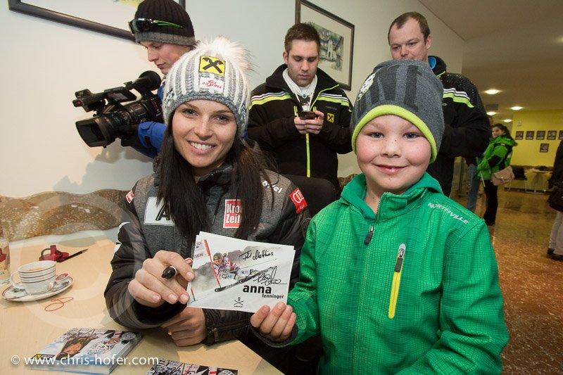Anna Fenninger Empfang in Adnet, 2015-02-14, Foto: Chris Hofer, Bild zeigt: Anna Fenninger, Matthias