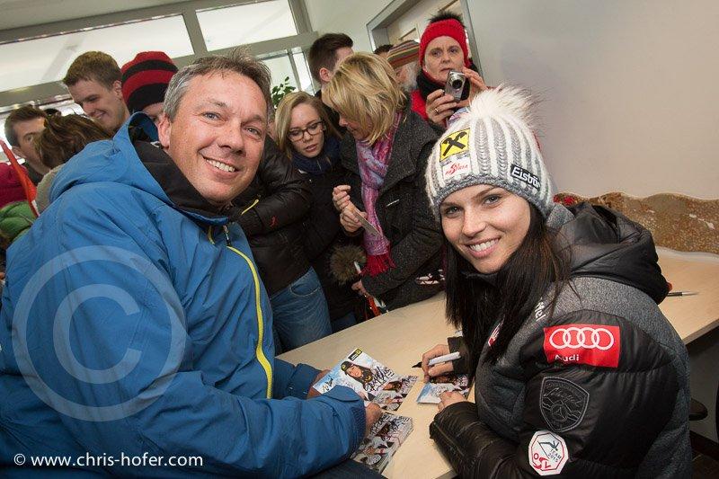 Anna Fenninger Empfang in Adnet, 2015-02-14, Foto: Chris Hofer, Bild zeigt: Fritz Strobl, Anna Fenninger