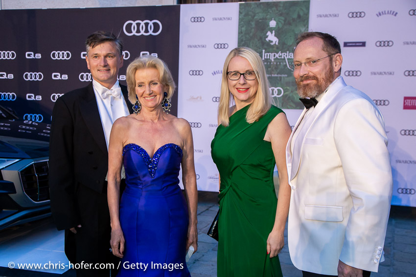 VIENNA, AUSTRIA - JUNE 29: Erwin Klissenbauer, Elisabeth Guertler, Federal Minister Margarete Ramboeck and her husband during the Fete Imperiale 2018 on June 29, 2018 in Vienna, Austria. (Photo by Chris Hofer/Getty Images) *** Local Caption *** Elisabeth Guertler; Margarete Ramboeck