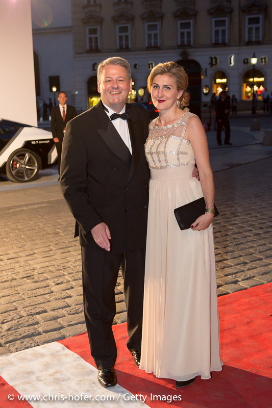 VIENNA, AUSTRIA - JUNE 26: Federal Minister of Agriculture Andrae Rupprechter with his wife Christine attend the Fete Imperiale 2015 on June 26, 2015 in Vienna, Austria.  (Photo by Chris Hofer/Getty Images)