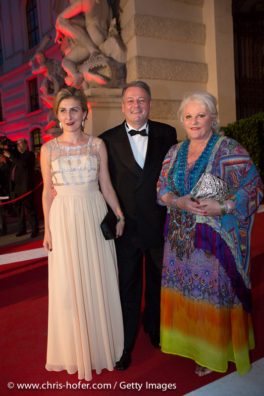 VIENNA, AUSTRIA - JUNE 26: Federal Minister of Agriculture Andrae Rupprechter with his wife Christine and Marika Lichter attend the Fete Imperiale 2015 on June 26, 2015 in Vienna, Austria.  (Photo by Chris Hofer/Getty Images)