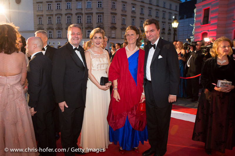 VIENNA, AUSTRIA - JUNE 26: Governor of Lower Austria Erwin Proell with his wife Elisabeth and Georg Habsburg-Lothringer with his wife Eilika attend the Fete Imperiale 2015 on June 26, 2015 in Vienna, Austria.  (Photo by Chris Hofer/Getty Images)