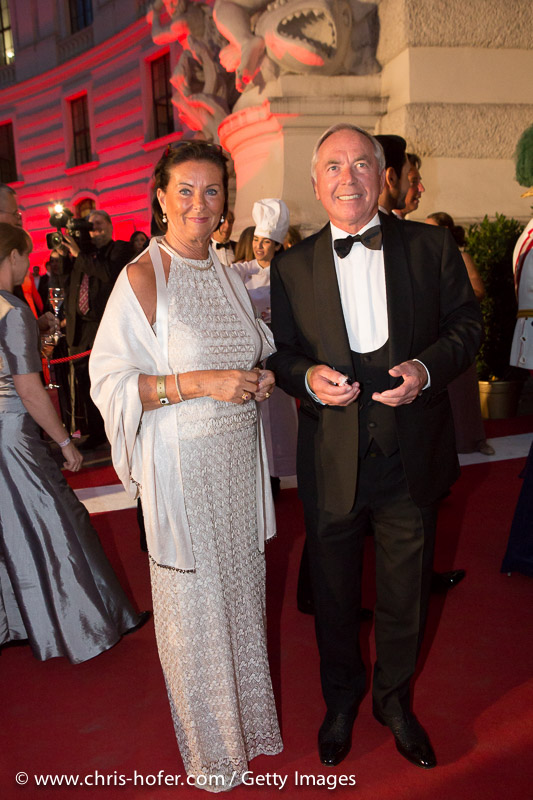 VIENNA, AUSTRIA - JUNE 26: Karl Schranz and his wife attend the Fete Imperiale 2015 on June 26, 2015 in Vienna, Austria.  (Photo by Chris Hofer/Getty Images)