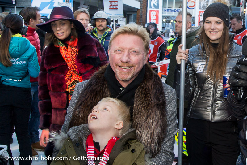 SAALBACH-HINTERGLEMM, AUSTRIA - DECEMBER 05:   Boris Becker with his son and wife Lilly Becker during the third and final day of the Formula Snow 2015 ski opening on December 5, 2015 in Saalbach-Hinterglemm, Austria.  (Photo by Chris Hofer/Getty Images)