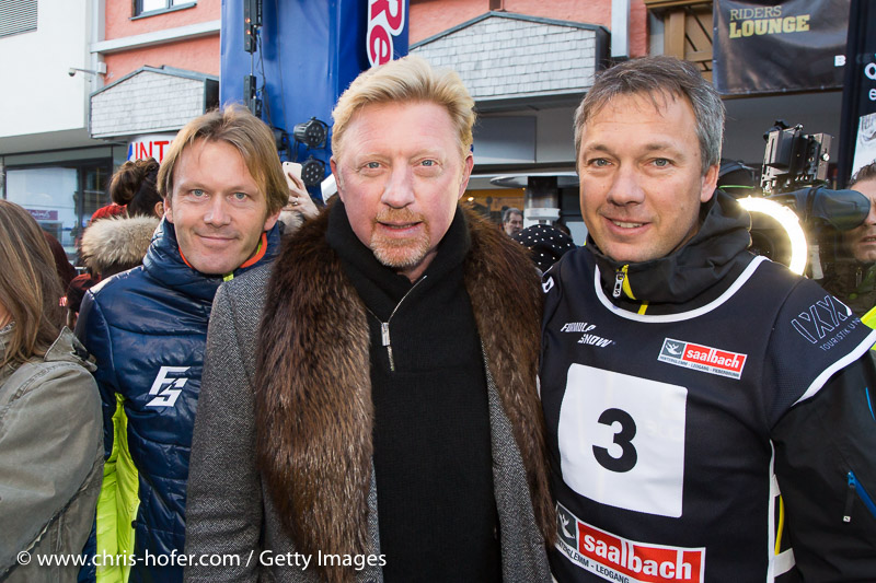 SAALBACH-HINTERGLEMM, AUSTRIA - DECEMBER 05:   Andy Wernig, Boris Becker and Fritz Strobl during the third and final day of the Formula Snow 2015 ski opening on December 5, 2015 in Saalbach-Hinterglemm, Austria.  (Photo by Chris Hofer/Getty Images)