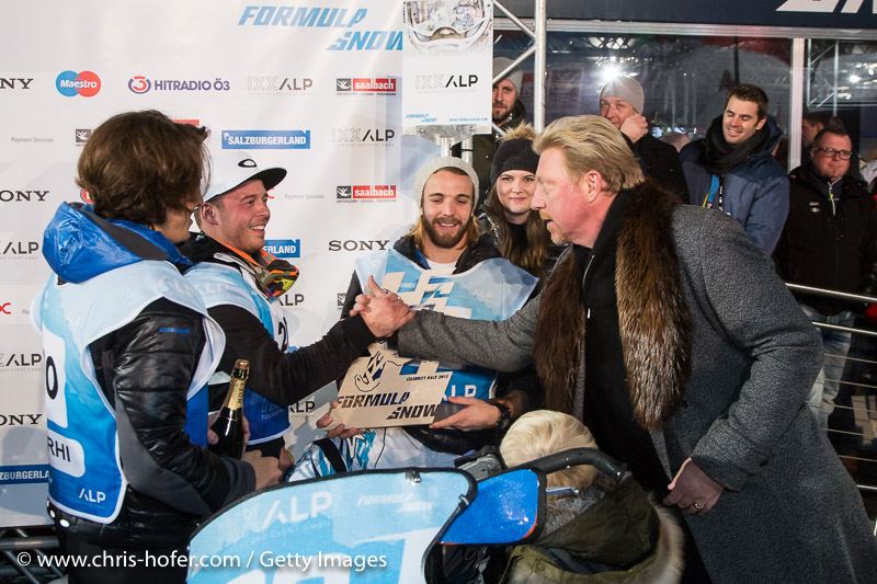 SAALBACH-HINTERGLEMM, AUSTRIA - DECEMBER 05:   Boris Becker congratulates IXXALP team during the third and final day of the Formula Snow 2015 ski opening on December 5, 2015 in Saalbach-Hinterglemm, Austria.  (Photo by Chris Hofer/Getty Images)