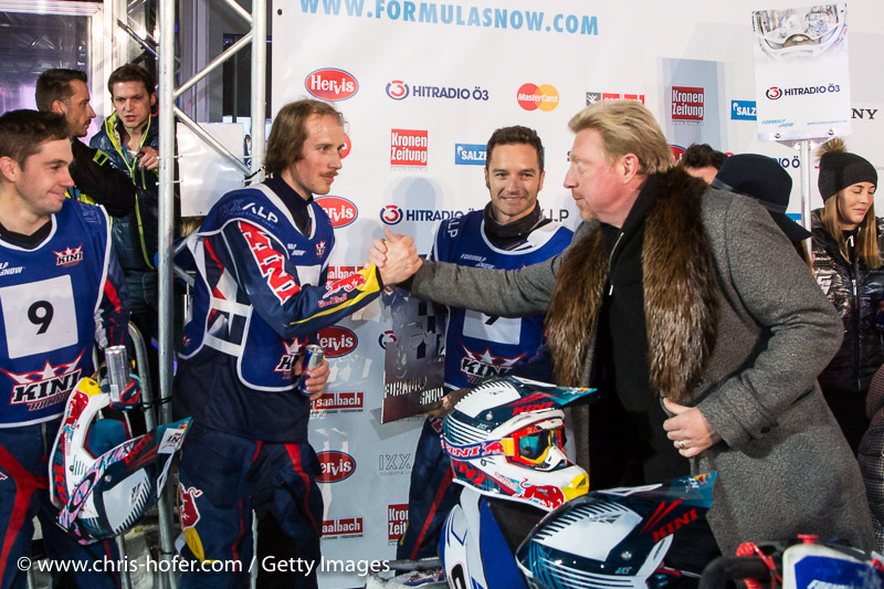 SAALBACH-HINTERGLEMM, AUSTRIA - DECEMBER 05:   Boris Becker congratulates KINI Red Bull Team during the third and final day of the Formula Snow 2015 ski opening on December 5, 2015 in Saalbach-Hinterglemm, Austria.  (Photo by Chris Hofer/Getty Images)