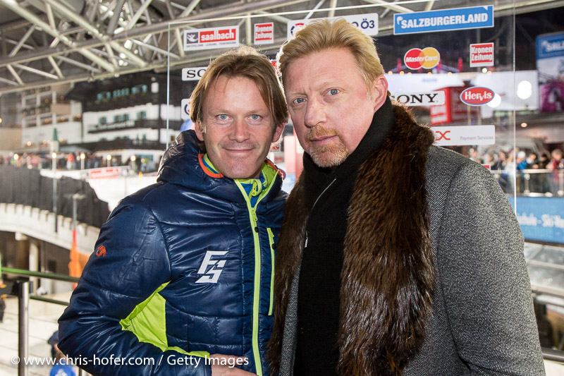 SAALBACH-HINTERGLEMM, AUSTRIA - DECEMBER 05:   Event promoter Andy Wernig and Boris Becker during the third and final day of the Formula Snow 2015 ski opening on December 5, 2015 in Saalbach-Hinterglemm, Austria.  (Photo by Chris Hofer/Getty Images)