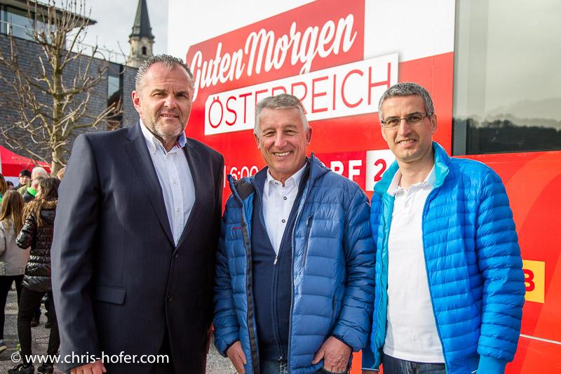 ORF Guten Morgen Österreich in Mattsee, 2016-04-01, Foto: Chris Hofer, Bild zeigt: Landesdirektor Roland Brunhofer, Gemeindebundpräsident Helmut Mödlhammer, Bgm. Rene Kuel