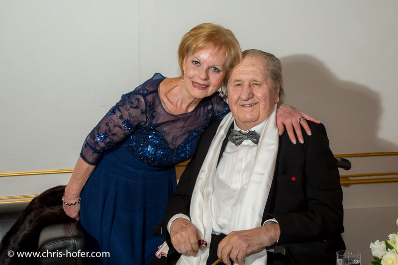 VIENNA, AUSTRIA - MARCH 19: Karl Spiehs and his wife Angelika at his 85th birthday celebration on March 19, 2016 in Vienna, Austria. (Photo by Chris Hofer/Getty Images)