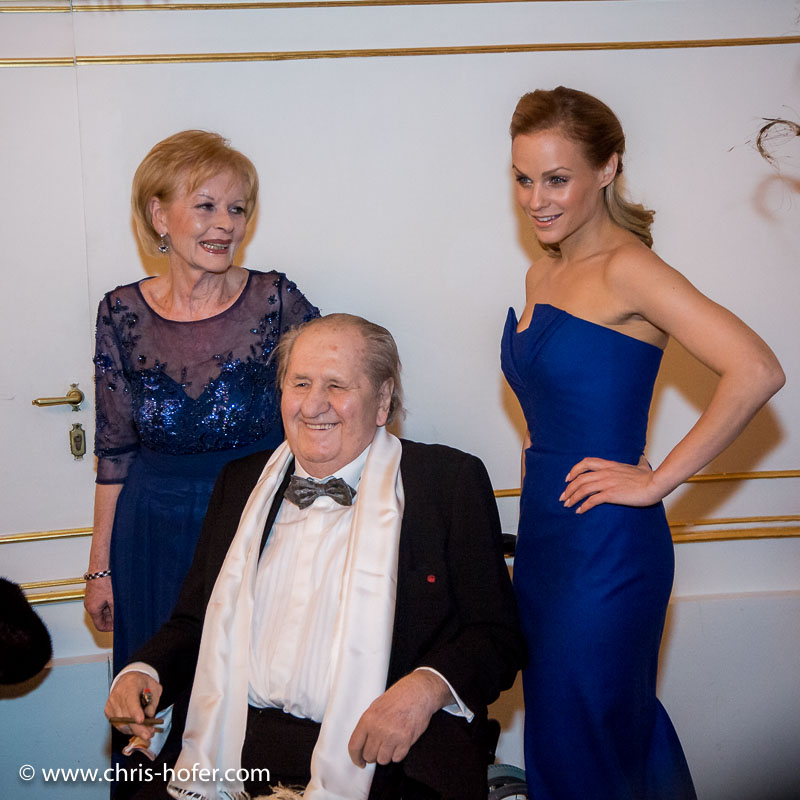 VIENNA, AUSTRIA - MARCH 19: Karl Spiehs, his wife Angelika Spiehs and Mirjam Weichselbraun at Karl Spiehs 85th birthday celebration on March 19, 2016 in Vienna, Austria. (Photo by Chris Hofer/Getty Images) *** Local Caption *** Karl Spiehs; Angelika Spiehs; Mirjam Weichselbraun
