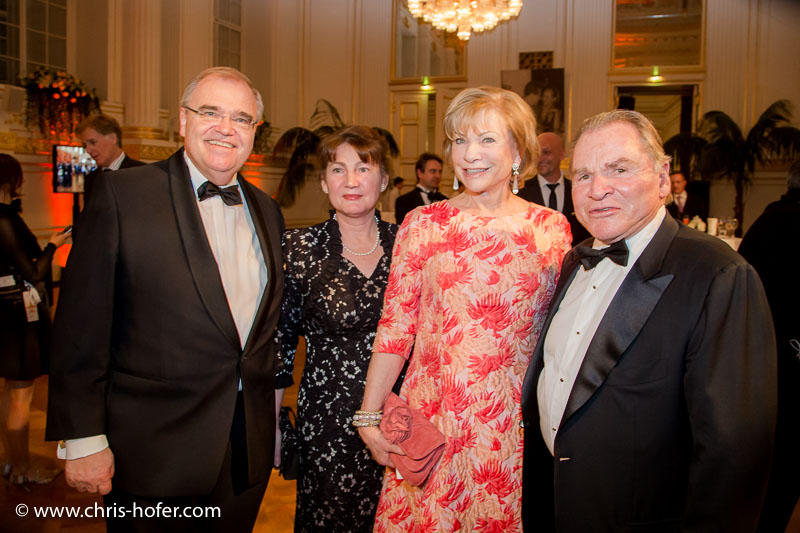 VIENNA, AUSTRIA - MARCH 19: Minister Wolfgang Brandstetter with his wife Christine and Fritz Wepper with his wife Angela attend Karl Spiehs 85th birthday celebration on March 19, 2016 in Vienna, Austria. (Photo by Chris Hofer/Getty Images)