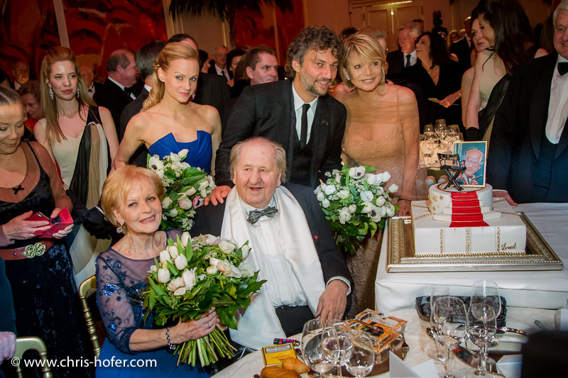 VIENNA, AUSTRIA - MARCH 19: Mirjam Weichselbraun, Jonas Kaufmann and Uschi Glas attend Karl Spiehs 85th birthday celebration on March 19, 2016 in Vienna, Austria. (Photo by Chris Hofer/Getty Images)