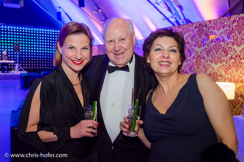 VIENNA, AUSTRIA - MARCH 19: Kristina Sprenger, Karl Blecha and Rosi Blecha attend Karl Spiehs 85th birthday celebration on March 19, 2016 in Vienna, Austria. (Photo by Chris Hofer/Getty Images)