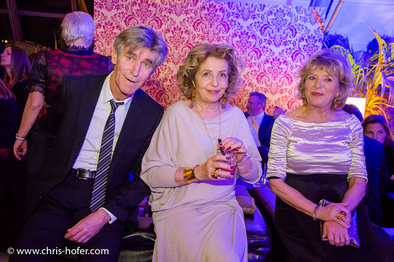 VIENNA, AUSTRIA - MARCH 19: Bernd Schadewald, Michaela May and Jutta Speidel attend Karl Spiehs 85th birthday celebration on March 19, 2016 in Vienna, Austria. (Photo by Chris Hofer/Getty Images)