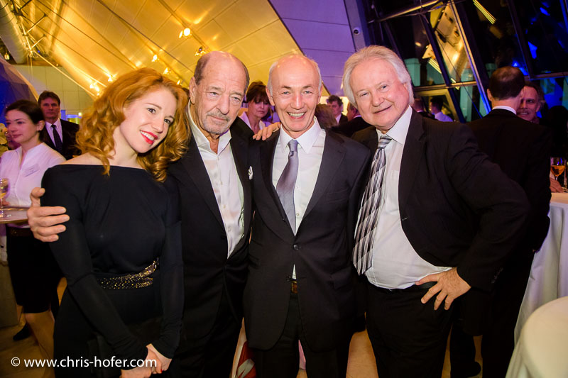 VIENNA, AUSTRIA - MARCH 19: Ralph Siegel with Laura Kaefer, Gottfried Zmeck and Arno Wiedergut attend Karl Spiehs 85th birthday celebration on March 19, 2016 in Vienna, Austria. (Photo by Chris Hofer/Getty Images) *** Local Caption *** Ralph Siegel; Gottfried Zmeck; Arno Wiedergut