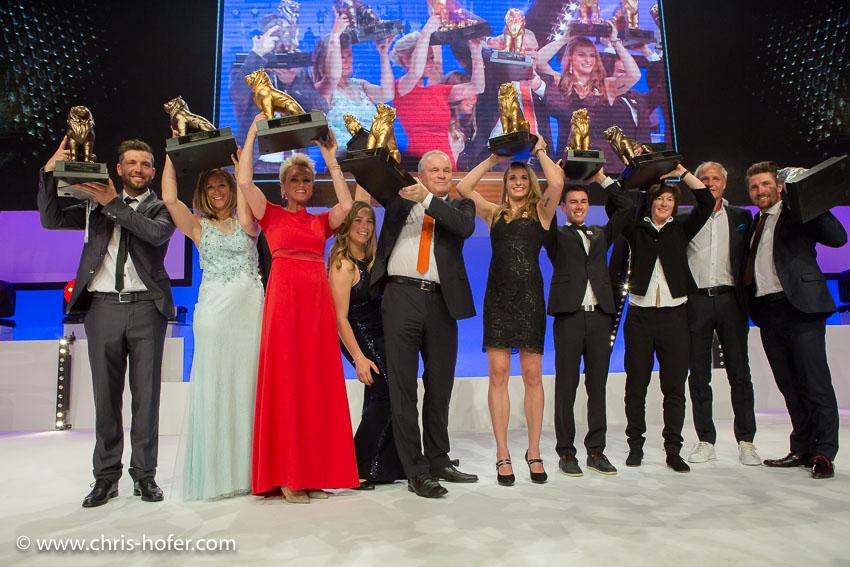 Leonidas Sportgala der Salzburger Nachrichten, Amadeus Terminal 2, 06.04.2017 Foto: Chris Hofer, Bild zeigt: die beliebtesten SportlerInnen des Jahres, sowie die beliebtesten TrainerInnen